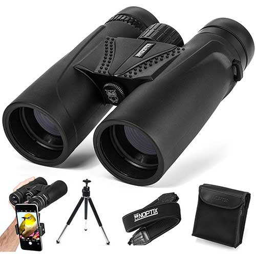 Best Compact Binoculars for Birding 5. NOPTIX Binoculars 10x42 | Compact and Lightweight | Best for Adults, Bird Watching, Sports Events, Concerts, Safari, or Hunting – Includes Smart Phone Adapter, Tripod, Neck Strap, Case, and Cleaning Cloth