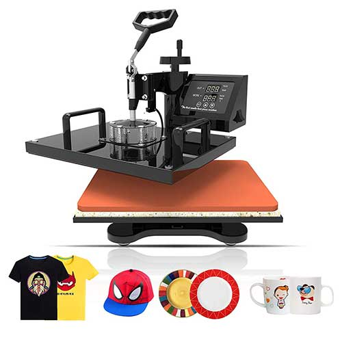 Best Multifunction Heat Press Machines 7. SUNCOO 5 in 1 Heat Press Transfer Machine 12x15 inches Hot Pressing Vinyl Digital Sublimation Combo Kit