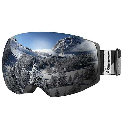 BEST BUDGET SKI GOGGLES 4. OutdoorMaster Ski Goggles PRO - Frameless, Interchangeable Lens 100% UV400 Protection Snow Goggles for Men & Women