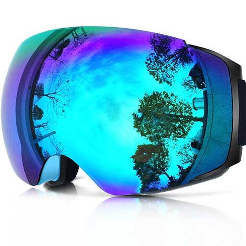 BEST BUDGET SKI GOGGLES 10. Zionor X4 Ski Snowboard Snow Goggles Magnet Dual Layers Lens Spherical Design Anti-Fog UV Protection Anti-Slip Strap for Men Women
