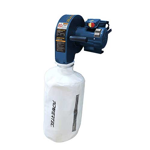3. POWERTEC DC5370 Wall Mounted Dust Collector with 2.5 Micron Filter Paper Bag