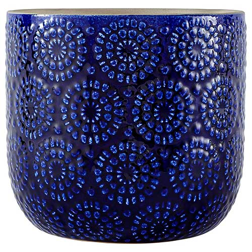3. Stone & Beam Modern Stoneware Decorative Indoor Floral Embossed Planter Pot, 7.4 Inch Height, Blue