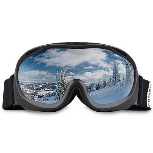 BEST BUDGET SKI GOGGLES 9. ALKAI Ski Goggles, Snowboard Goggles, Anti-Fog 100% UV Protection, Double-Layer Spherical Lenses, Helmet Compatible Medium Fit Snow Goggles for Men & Women