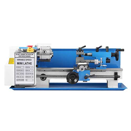 Best Beginner Metal Lathes 2. Happybuy 7x14 Inch Metal Lathe 2500RPM 550W Mini Bench Lathe 0.75HP Variable Spindle Speed Milling Machine