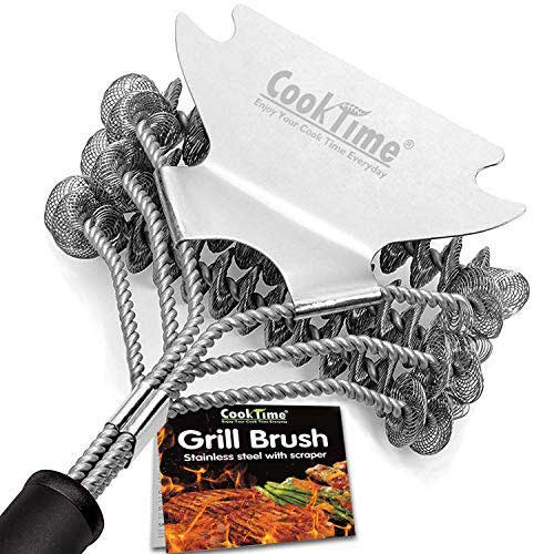 Best Bbq Grill Cleaners 7. Cook Time Safe Grill Brush - Bristle Free BBQ Grill Cleaner/Scraper - 18'' Stainless Steel Grill Cleaning Scrubber, Great BBQ Accessories for Clean All Grill Grates