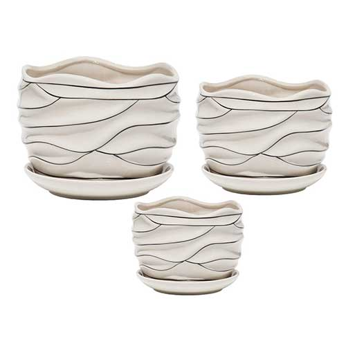 7. White Ceramic Flower Plant Pots Indoor Garden Plants Containers with Saucers, Set of 3 by Balamiya