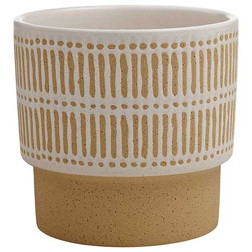 4. Stone & Beam Emerick Rustic Stoneware Planter Pot - 6 Inch, Brown and White