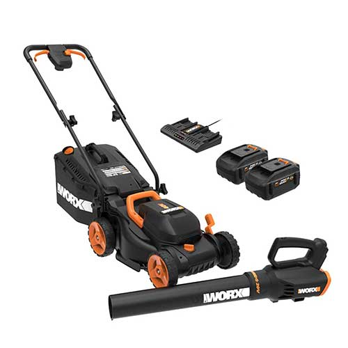 Best Lawn Mowers for Bermuda Grass 10. WORX WG958 14-inch 40V (4.0AH) WG779 Cordless Lawn Mower and WG547.9 Power Share Cordless Turbine Blower