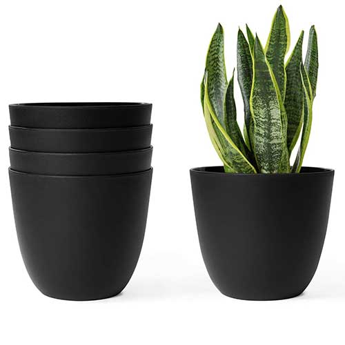 10. Mkono 6.5 Inch Plastic Planters Indoor Set of 5 Flower Plant Pots Modern Decorative Gardening Pot with Drainage