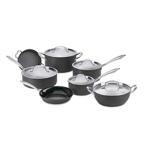 10. Cuisinart GG-12 GreenGourmet Hard-Anodized Nonstick 12-Piece Cookware Set