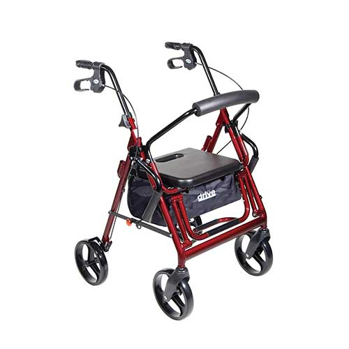 3. DRIVE MEDICAL DUET TRANSPORT ROLLATOR WALKER