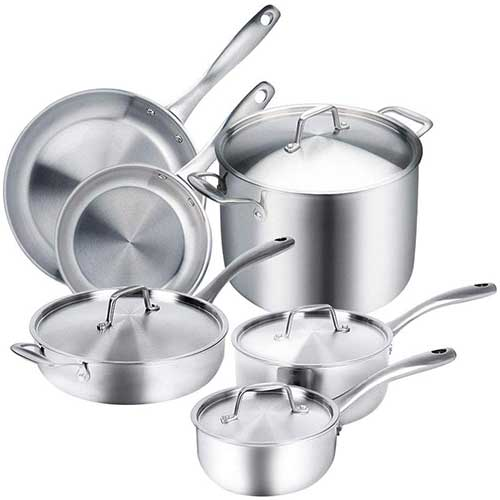 9. Duxtop Whole-Clad Tri-Ply Stainless Steel Induction Ready Premium Cookware 10-Pc Set
