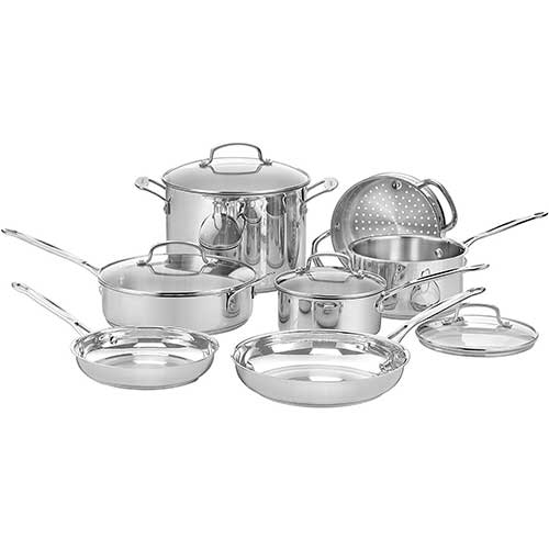 3. Cuisinart 77-11G Chef's Classic Stainless 11-Piece Cookware Set