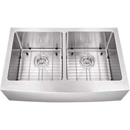 10. 33-in 16-Gauge Stainless Steel Apron Front Farmhouse 50/50 Double Bowl Kitchen Sink