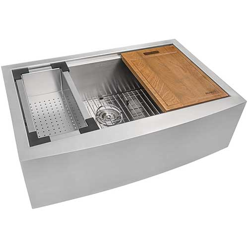 1. Ruvati 33-inch Apron-front Workstation Farmhouse Kitchen Sink 16 Gauge Stainless Steel Single Bowl - RVH9200