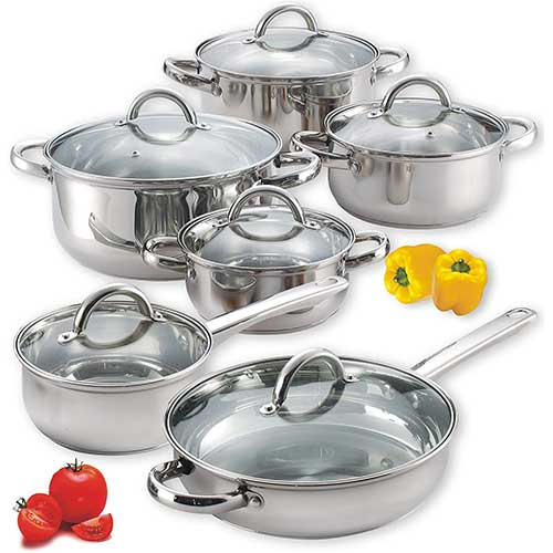 4. Cook N Home NC-00250 12-Piece Stainless Steel Cookware Set