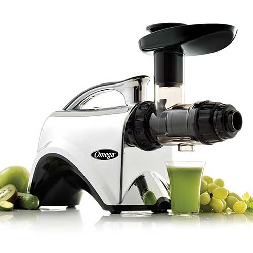 8. Omega NC900HDC Juicer Extractor and Nutrition Center Creates Fruit Vegetable and Wheatgrass Juice Quiet Motor Slow Masticating Dual-Stage Extraction with Adjustable Settings, 150-Watt, Metallic