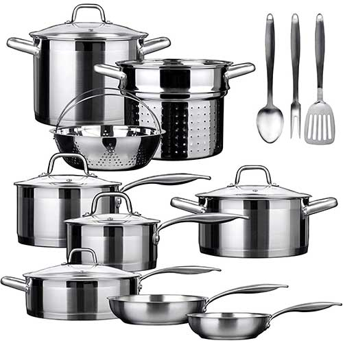 10. Duxtop SSIB-17 Professional 17 Pieces Stainless Steel Induction Cookware Set