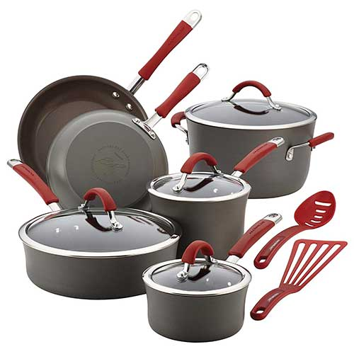 2. Rachael Ray Cucina Hard-Anodized Aluminum Nonstick Pots and Pans Cookware Set