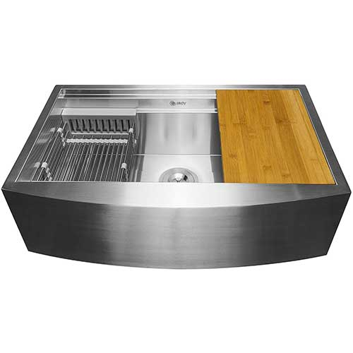 8. AKDY Apron Farmhouse Handmade Stainless Steel Kitchen Sink