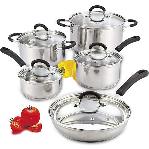 5. Cook N Home 10-Piece Stainless Steel Cookware Set