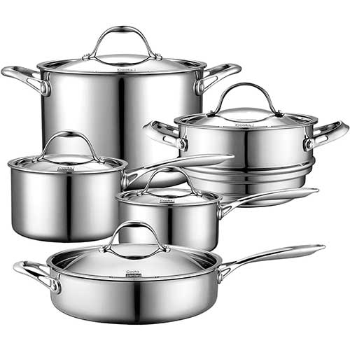 7. Cooks Standard 10 Piece Multi-Ply Clad Cookware Set