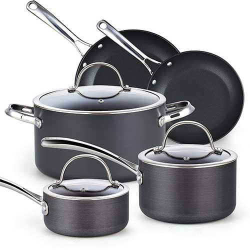 8. Cooks Standard 02487 Black 8-Piece Nonstick Hard Anodized Cookware Set