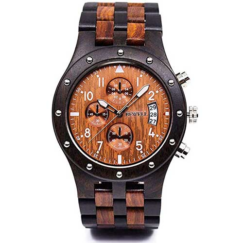 2. Bewell W109D Sub-dials Wooden Watch