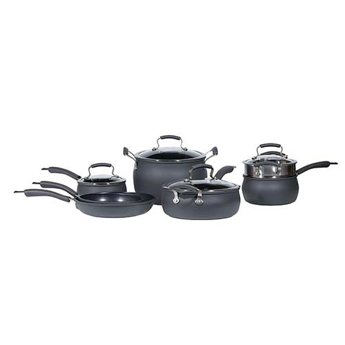 7. Epicurious Cookware Collection- Dishwasher Safe Oven Safe, Nonstick Hard Anodized 11 Piece Cookware it set
