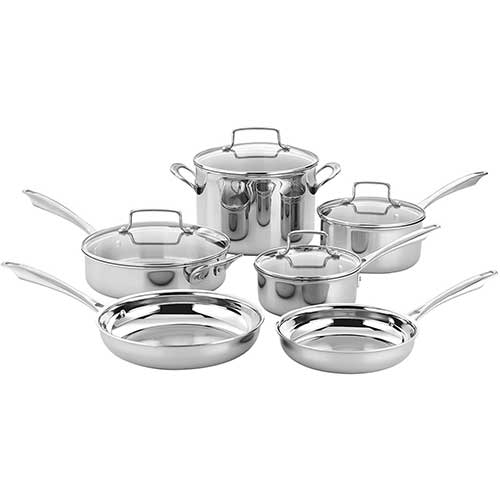 1. Cuisinart TPS-10 10 Piece Tri-ply Stainless Steel Cookware Set