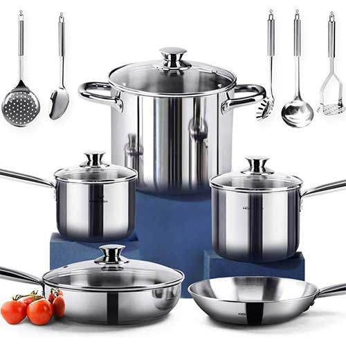 2. HOMI CHEF 14-Piece Nickel Free Stainless Steel Cookware Set