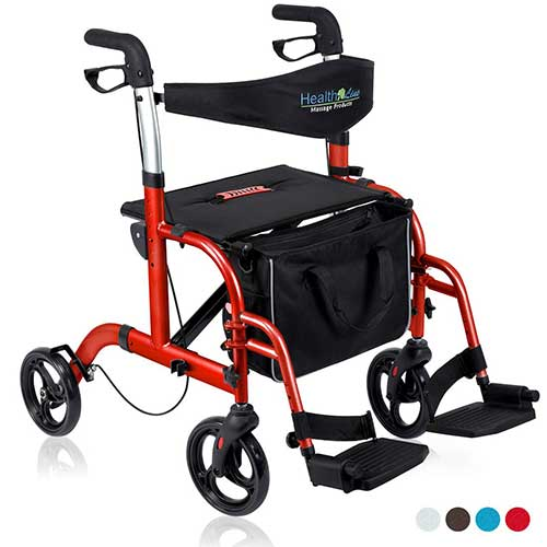 10. HEALTH LINE 2 IN 1 ROLLATOR TRANSPORT CHAIR