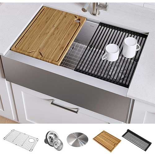 3. KRAUS KWF410-33 Kore Workstation 33-inch Farmhouse Flat Apron Front 16 Gauge Single Bowl Stainless Steel Kitchen Sink