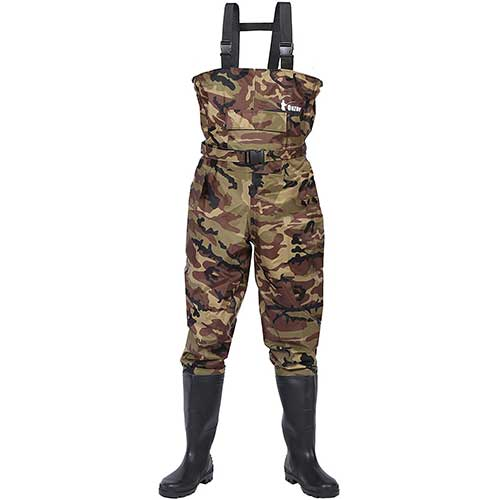 7. Ouzong Bootfoot Chest Waders, Cleated 2-Ply Nylon/PVC Fishing & Hunting Lightweight Waterproof Chest Waders