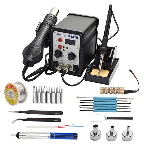 6. TXINLEI 8586 110V Solder Station, 2 in 1 Digital Display SMD Hot Air Rework Station and Soldering Iron