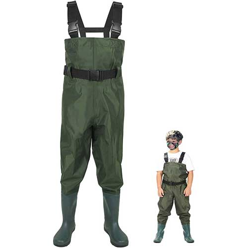 9. LANGXUN Hip Waders Kids, Lightweight Breathable PVC Fishing Waders Children, Waterproof Bootfoot Waders Boy Girl, Army Green Chest Waders Kids