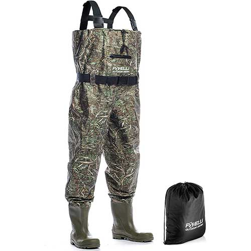 1. Foxelli Nylon Chest Waders – Camo Fishing Waders