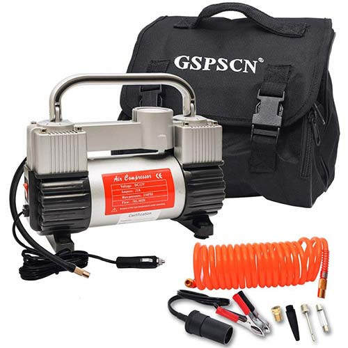 6. GSPSCN Silver Inflator Heavy Duty Double Cylinders with Portable Bag 12V Metal Compressor Pump 150PSI