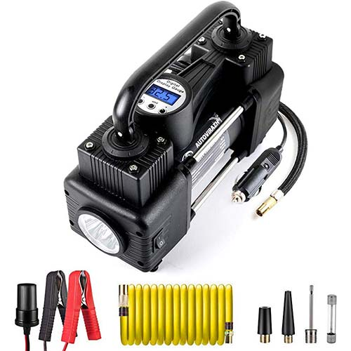 9. AutoVirazh Dual Cylinder Portable Air Compressor for Car Tires