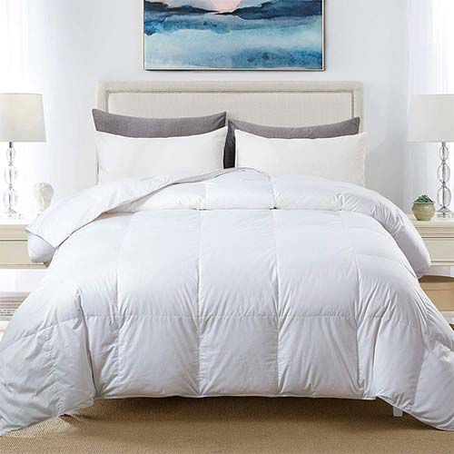 5. COSYBAY 100% Cotton Quilted Down Comforter White Goose Duck Down and Feather Filling