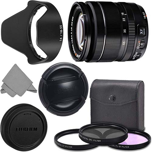 5. FUJIFILM XF 18-55mm f/2.8-4 R LM OIS Wide Angle Lens (16276479) + AOM Pro Kit Combo Bundle – Fuji 18-55mm X-Mount Zoom Kit Lens