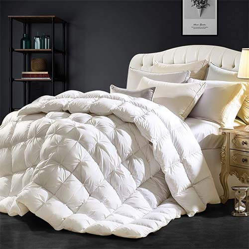 9. Goose Down Comforter 100% Egyptian Cotton 750+ Fill Power Insert Queen Comforter 1200 Thread Count Pinch Pleat Design Down Proof Duvet Comforter