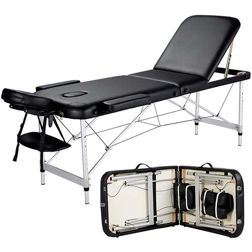 4. Yaheetech Massage Table Portable Massage Bed 3 Folding 84 Inch Aluminium Frame Lightweight Height Adjustable Salon Spa Table