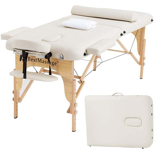 9. Portable Massage Table Massage Bed SPA Bed 2 Folding 73 Inch Long 28 Inch Wide PU Portable Massage Table Height Adjustable Salon Bed