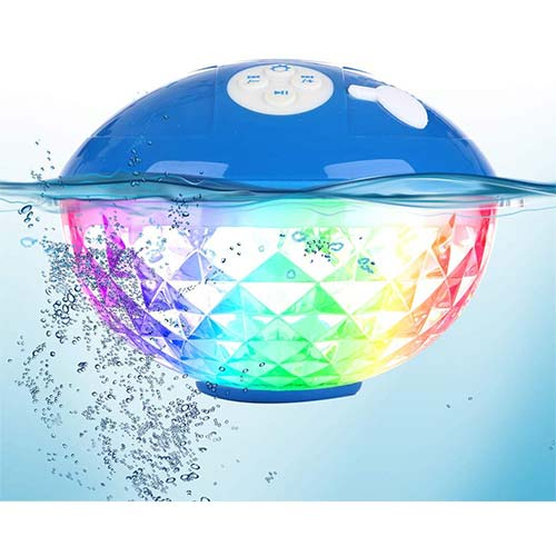 8. Bluetooth Speakers with Colorful Lights, Portable Speaker IPX7 Waterproof Floatable