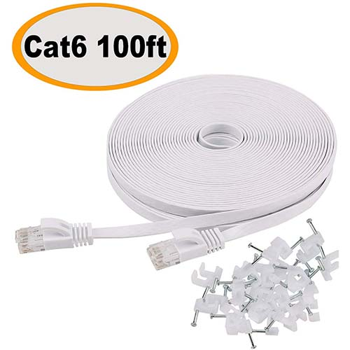 5. Cat 6 Ethernet Cable 100 ft Flat White, Slim Long Internet Network Lan patch cords