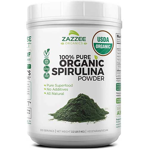 5. Zazzee USDA Organic Spirulina Powder 2.2 Pounds (1 KG)