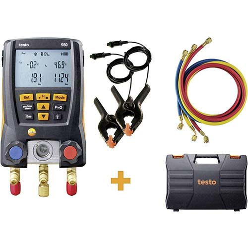 10. Testo 550 Hoses - Digital Manifold Kit with Bluetooth and Set of 3 Hoses