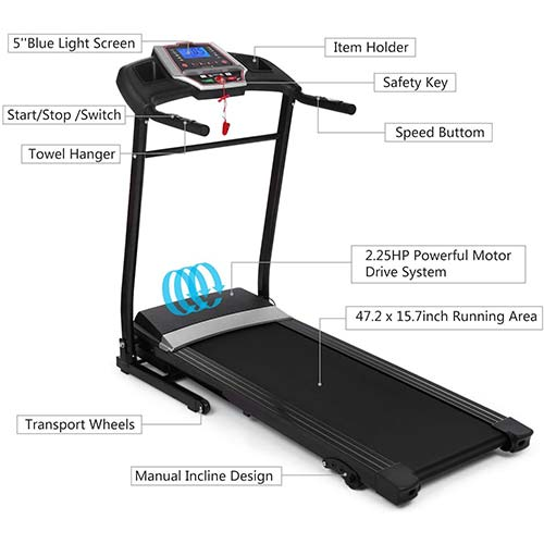 9. Yiilove Folding Treadmill Electric Motorized Power Fitness Running Machine