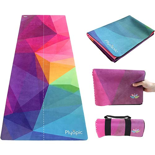 7. Plyopic Travel Yoga Mat | Foldable 3-in-1 Mat/Yoga Towel/Hygienic Mat Topper. Luxury Sweat-Grip Surface and Non-Slip Rubber Backing